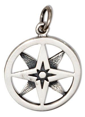 Sterling Silver Layered Compass Charm