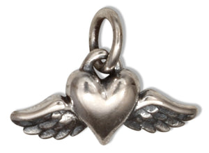 Sterling Silver Inspirational Tiny Heart with Wings Charm