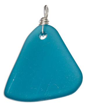 Sterling Silver Ocean Teal Blue Triangular Sea Glass Pendant