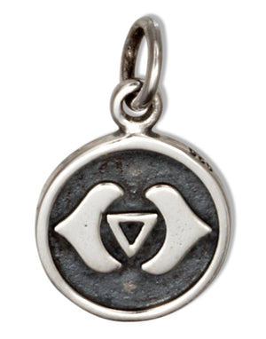 Sterling Silver 2 Sided Etched Third Eye Chakra Disk Charm
