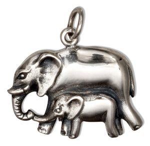 Sterling Silver Mother and Baby Elephant Charm Pendant