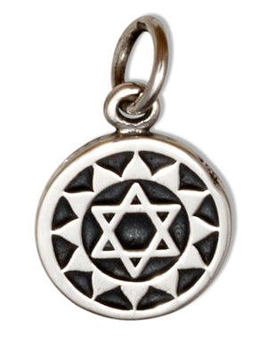 Sterling Silver Etched Heart Chakra on Disk Charm