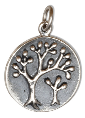 Sterling Silver Tree Of Life Round Charm Mother and Baby Trees