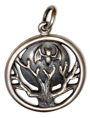 Sterling Silver Bat and Full Moon Tree Charm