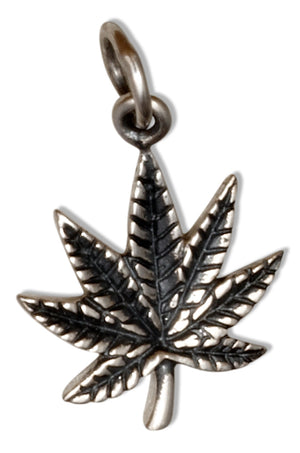 Sterling Silver Antiqued Pot Leaf Marijuana Cannabis Charm