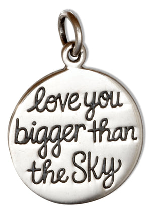 Sterling Silver Love You Bigger Than the Sky Love You Deeper Than the Ocean Pendant