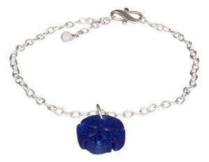 Sterling Silver Dangling Cobalt Blue Sea Glass Sand Dollar Pendant Anklet