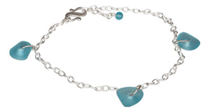 Sterling Silver Dangling Multi Turquoise Sea Glass Anklet