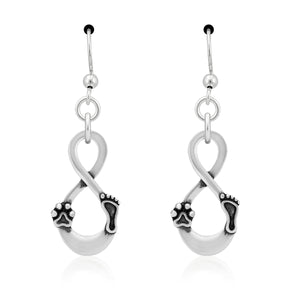 Sterling Silver Infinity Paw Print Footprint Our Lives Cross Paths Earrings