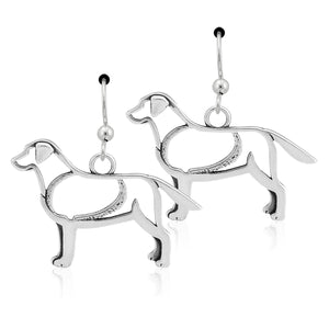 Sterling Silver Labrador Retriever Earrings on French Wires