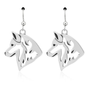 Sterling Silver Siberian Husky Head Earrings on French Wires