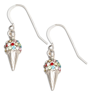 Sterling Silver Multi-colored Swarovski Crystals Ice Cream Cone Dangle Earrings