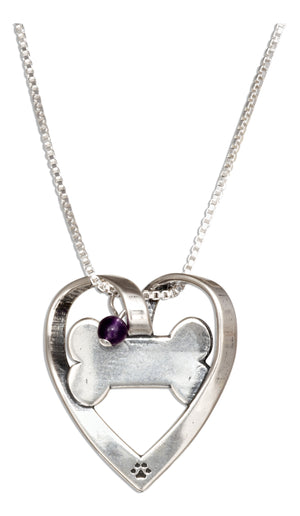 Sterling Silver Sweetheart Bone Pendant Necklace with Amethyst Bead