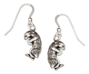 Sterling Silver Sea Otter with Synthetic Opal Chip Dangle Earrings on French Wires