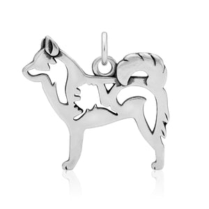 Sterling Silver Alaskan Klee Kai Dog Breed Pendant with Alaska Silhouette in Body