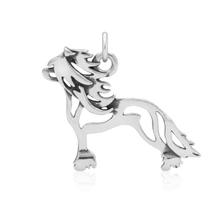 Sterling Silver Hairless Chinese Crested Dog Pendant Body