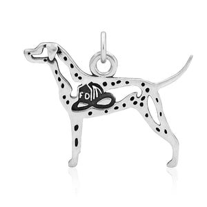 Sterling Silver Dalmatian Pendant with Fire Hat in Body