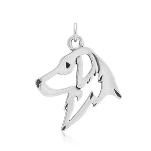 Sterling Silver Flat Coated Retriever Dog Head Pendant