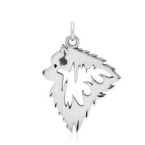 Sterling Silver Keeshond Dog Head Pendant
