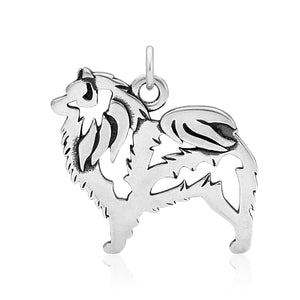 Sterling Silver Keeshond Body Dog Pendant