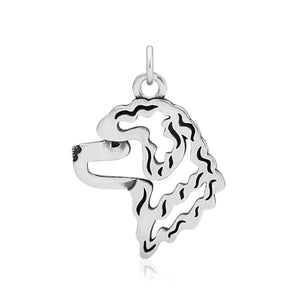 Sterling Silver Portuguese Water Dog Head Pendant