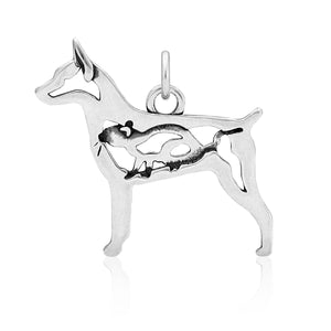Sterling Silver Rat Terrier Dog Pendant with Rat in Body