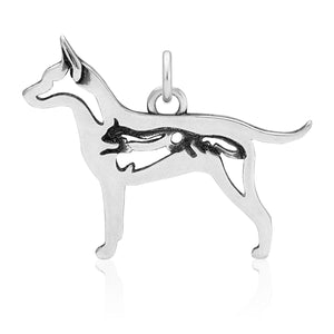 Sterling Silver Rat Terrier Dog Pendant with Squirrel in Body