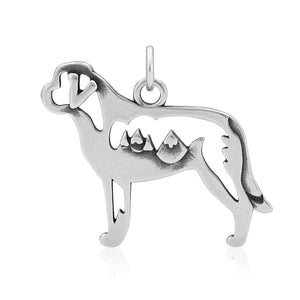 Sterling Silver Saint St Bernard Dog Pendant with Mountains in Body