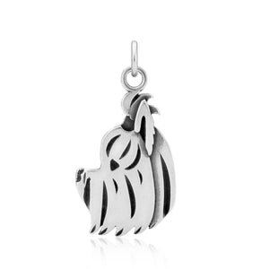 Sterling Silver Yorkie Yorkshire Terrier Dog Pendant with Puppy Cut