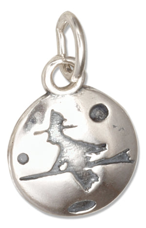 Sterling Silver Flying Witch on Broomstick Round Pendant