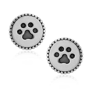Sterling Silver Timeless Treasures Round Dog Paw Print Post Earrings