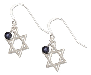 Sterling Silver Jewish Star Of David Earrings with Dark Blue Swarovski Bead