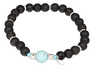 Sterling Silver 8 inch Robins Egg Blue Dyed Howlite and Lava Beads Bracelet