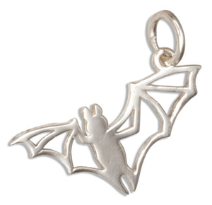 Sterling Silver Open Work Silhouette Flying Bat Charm
