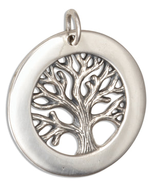 Sterling Silver Round Tree Of Life Pendant with Blank Frame for Engraving