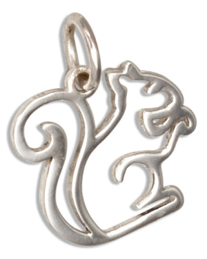 Sterling Silver Open Work Silhouette Squirrel Charm