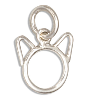 Sterling Silver Silhouette Tiny Cat Head with Ears Charm