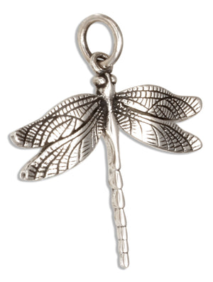 Sterling Silver Tiny Antiqued Dragonfly Charm