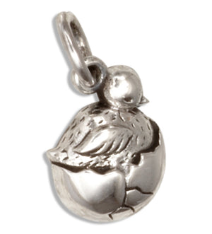 Sterling Silver Tiny Hatchling Baby Bird in Egg Charm