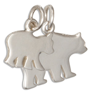 Sterling Silver Mother and Baby Bear Charm Set