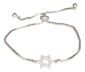 Sterling Silver Adjustable Star Of David Jewish Star Bracelet with Cubic Zirconias Lariat Style