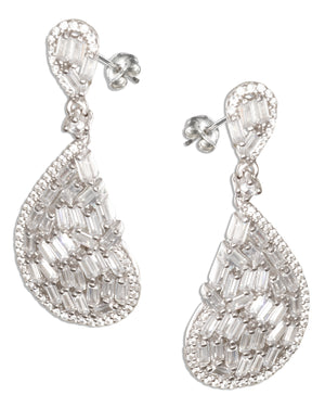 Sterling Silver Large Teardrop Earrings with Cubic Zirconias