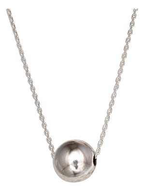 Sterling Silver 16 inch to 18 inch Adjustable Single 10mm Bead Necklace on Fine Cable Chain