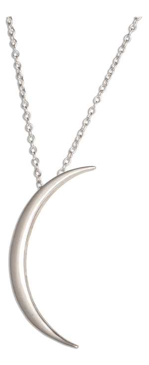 Sterling Silver Adjustable 16 inch to 18 inch Lightweight Crescent Moon Necklace on Fine Cable