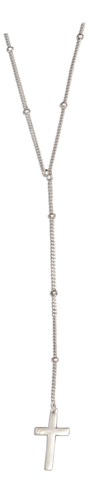 Sterling Silver 16 inch to 18 inch Adjustable Fine Beaded Chain with Dangling Cross Necklace