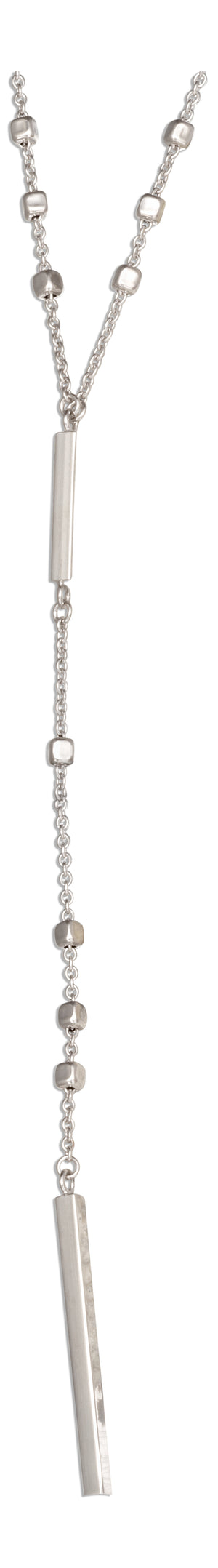 Sterling Silver 22 inch Dangling Bar Lariat Necklace on Square Bead Chain