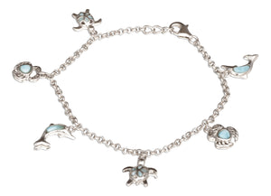 Sterling Silver 7.5 inch Turtle, Crab, and Dolphin Larimar Charm Bracelet