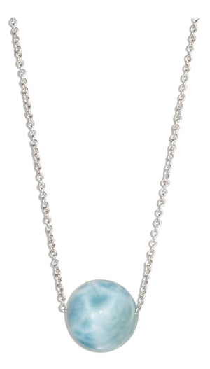 Sterling Silver Adjustable 16 inch to 18 inch 10mm Round Larimar Bead on Cable Necklace