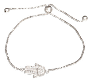Sterling Silver Adjustable 7 inch to 8 inch Cubic Zirconia Hamsa Hand Of God Bolo Bracelet