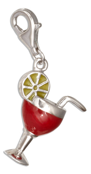 Sterling Silver Red and Pale Yellow Enamel Cocktail Glass Zipper Pull Pendant